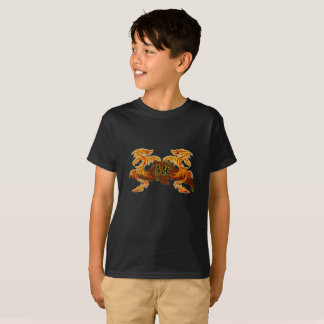 2 dragons Chinese inscription, brave child t-shirt