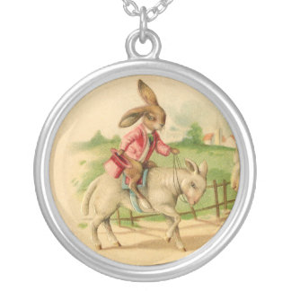 2 Easter bunnies on lambs charm Round Pendant Necklace