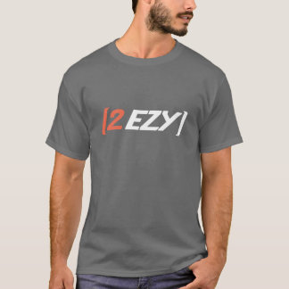 """2 EZY"" men's logo white orange on grey t-shirt"