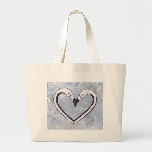 2 Flamingo kiss heart on blue Tote Bag