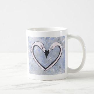 2 Flamingo kiss heart on blue Basic White Mug