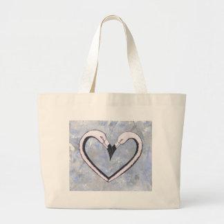 2 Flamingo kiss heart on blue Jumbo Tote Bag