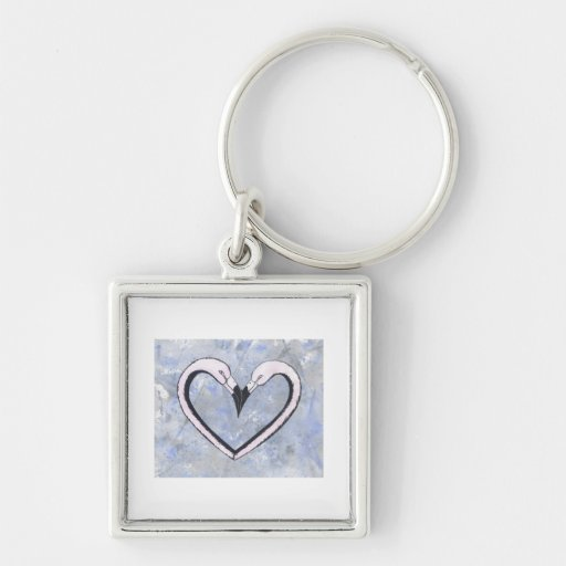 2 Flamingo kiss heart on blue Key Chain