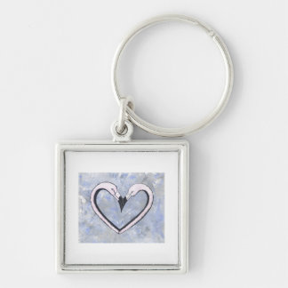 2 Flamingo kiss heart on blue Silver-Colored Square Key Ring