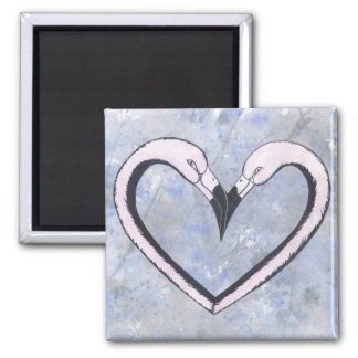 2 Flamingo kiss heart on blue Square Magnet