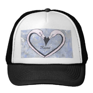 2 Flamingo kiss heart  personalize Cap
