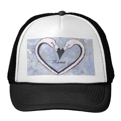 2 Flamingo kiss heart  personalize Mesh Hats