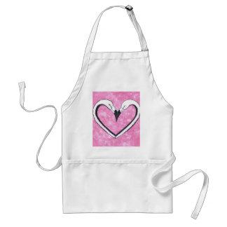 2 Flamingo kiss heart Standard Apron