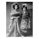2 Geisha Girls Vintage Japanese Photo Postcards