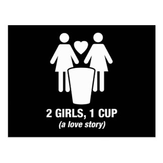 2 girls one cup - 2girls1cup - funny tee postcard