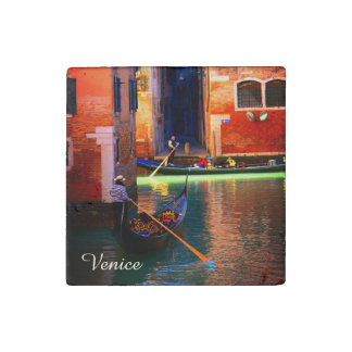 2 Gondolas On A Small Canal From Venice, Italy Stone Magnet