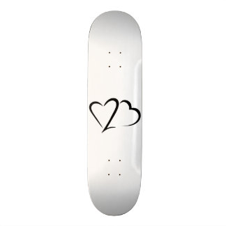 2 Hearts In One Black and White Skateboard deck