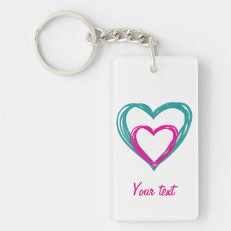 2 Hearts Key Ring