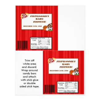 2 Hershey's Large Bar Wrapper All-Star Red 21.5 Cm X 28 Cm Flyer