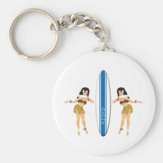 2 Hulas and Surf Board Key Ring
