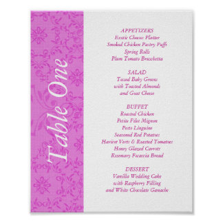 2-in-1 Wedding Reception Table Toppers & Menus Poster