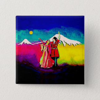 2 Inch Square Button Armenian Dancers