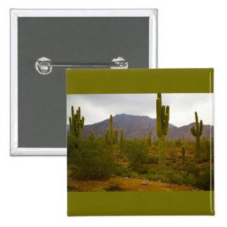 2 Inch Square Button Bright Sahuaro Cacti