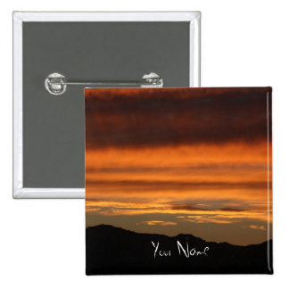 2 Inch Square Button PHOTOGRAPH OF ORANGE SUNSET