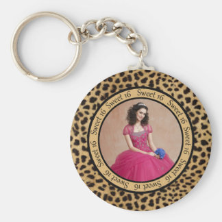 #2 Leopard Print Photo Sweet 16 Keychain