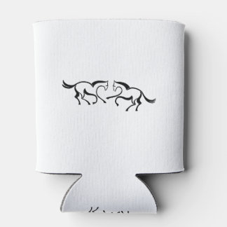 2 Line drawing horses meet to a heart shape Can Cooler