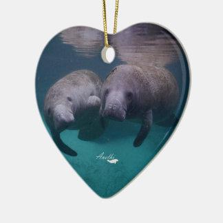 2 Manatee Friends ceramic heart ornament