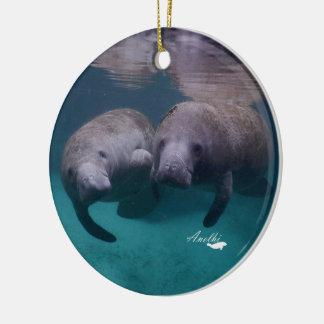 2 Manatee Friends ceramic round ornament