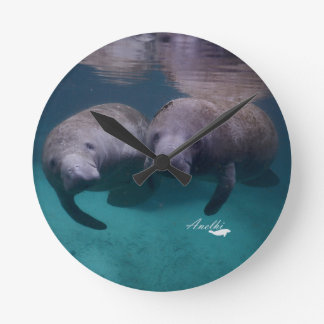 2 Manatee Friends Collection Round Clock