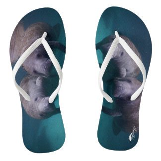2 Manatee Friends flip flops for Adults