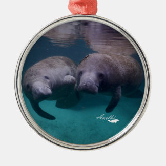 2 Manatee Friends silver plated ornament
