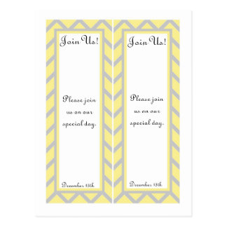 2 Modern Chevron Yellow/Grey Wedding Bookmarks Postcard