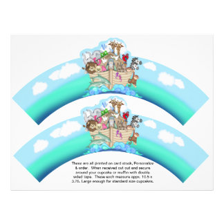 2 Noahs Ark Baby Personalized Cupcake Wrappers