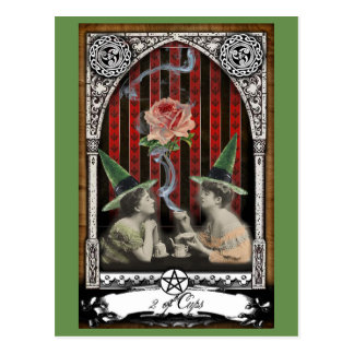 2 of Cups Victorian Witch Tarot Postcard