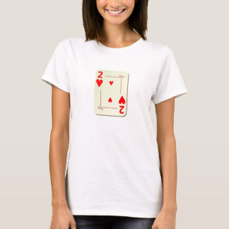 2 of Hearts Playing Card T-Shirt