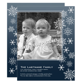 2 Photo Blue Vintage Snowflakes Funky Card