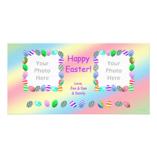 2 Photo Painted Easter Eggs Personalized Photo Card