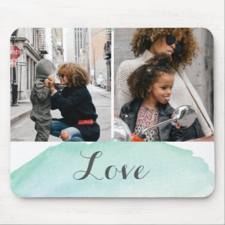 2 Photo Turquoise Watercolor Mouse Pad