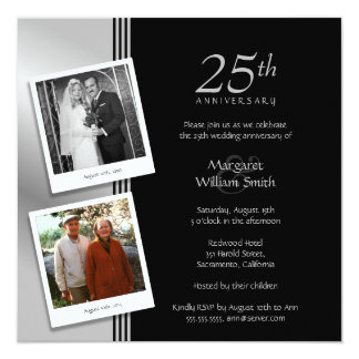 2 Photos Silver 25th Wedding Anniversary Party 13 Cm X 13 Cm Square Invitation Card