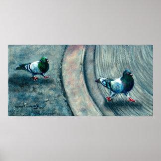 2 Pigeons crossing street Poster