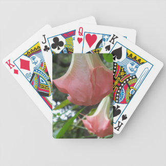 2 pink Angels trumpet flowers Bicycle Playing Cards