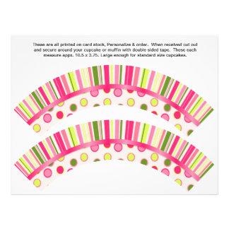 2 Polka Dot Birthday Personalize Cupcake Wrappers 21.5 Cm X 28 Cm Flyer