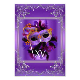 2 Reception Quinceanera Masquerade Mask Purple Card