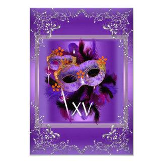 2 Reception Quinceanera Masquerade Mask Purple 9 Cm X 13 Cm Invitation Card