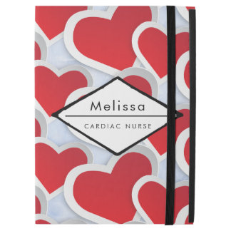 "2 Red Hearts Repeating Pattern Cardiac Nurse iPad Pro 12.9"" Case"