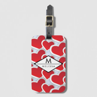 2 Red Hearts Repeating Pattern Cute Luggage Tag