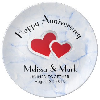 2 Red Paper Hearts on Icy Blue Marble Anniversary Plate