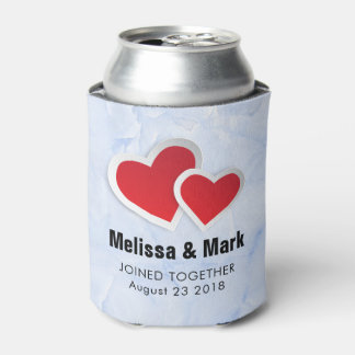 2 Red Paper Hearts on Icy Blue Marble Wedding Can Cooler