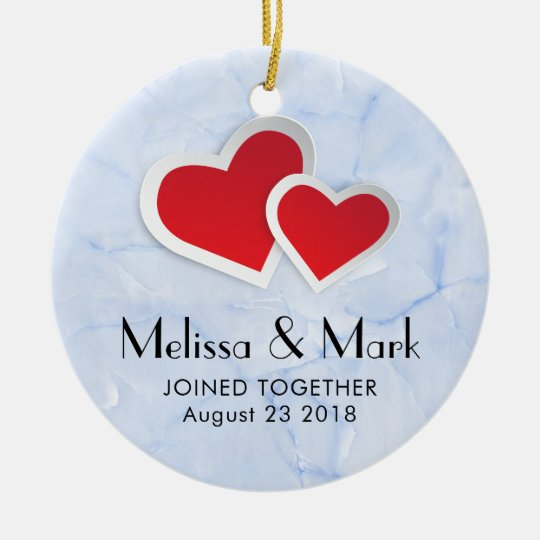 2 Red Paper Hearts on Icy Blue Marble Wedding Ceramic Ornament