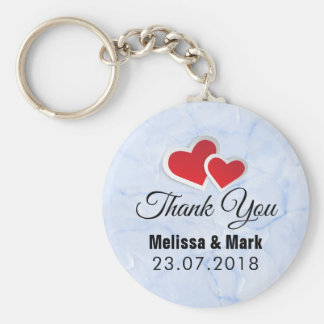 2 Red Paper Hearts on Icy Blue Marble Wedding Key Ring
