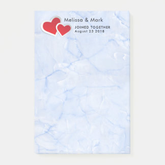 2 Red Paper Hearts on Icy Blue Marble Wedding Post-it Notes